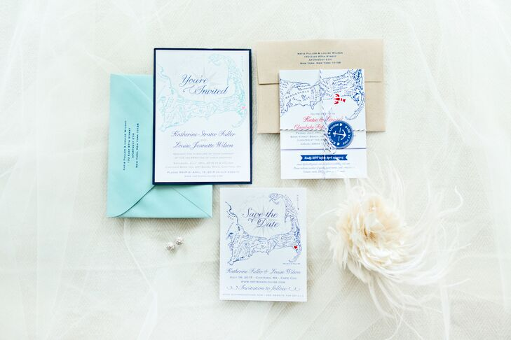 "Ruth Bleakley of Concertina Press, who specializes in nautical wedding stationery, designed all of Louise and Katie's stationery, transforming their vision for a beach chic fete into a series of cheerful, nautical creations with a Cape Cod map motif. ""One of our favorite and most creative printed pieces was our clambake rehearsal dinner invitation,"" says the couple. ""We printed lobster bibs at Staples with Ruth's design, folded them around the invitation cards, and tied them together with navy baker's twine and round tags."""