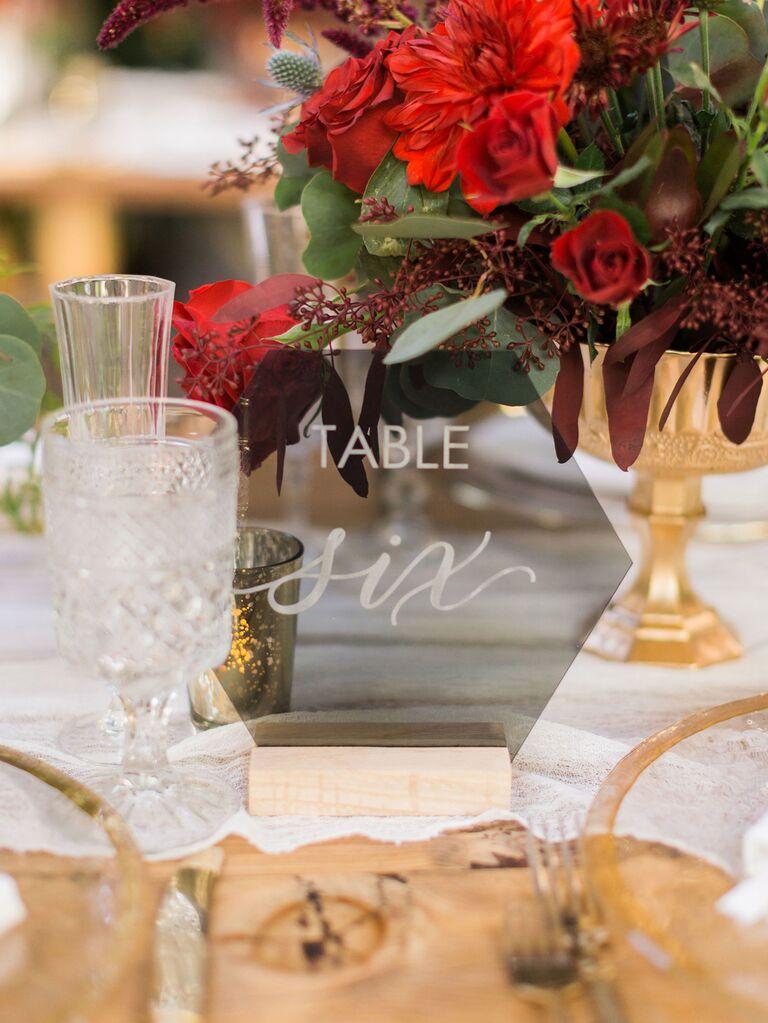 Acrylic geometric wedding table number