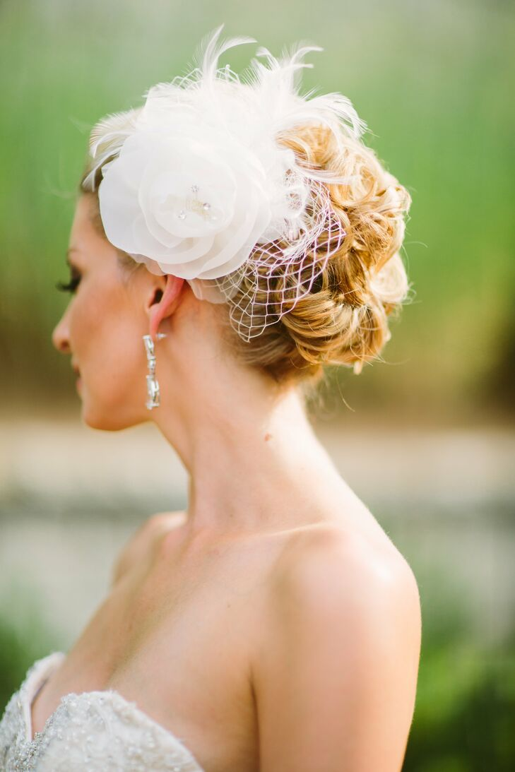 Textured Updo with White Flower Headpiece