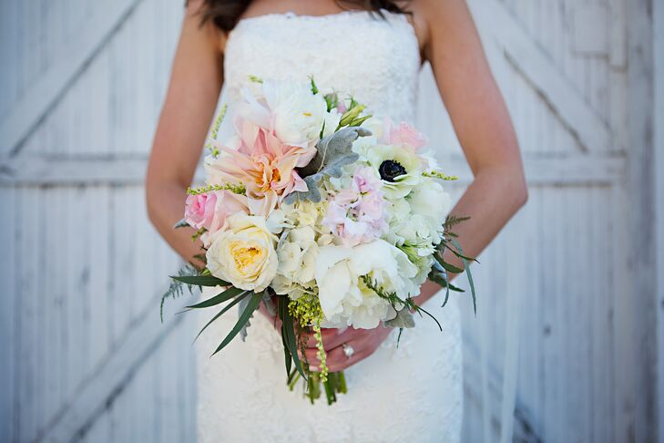 """""""Since we were married in April, I wanted everything to be bright and light,"""" Alexis says. """"I wanted the bouquets to feel loose and like someone went out and picked them from a garden, not like a stuffy arrangement."""" Paola Town Square's owner, Michelle, went above and beyond to bring Alexis's vision to life, creating full, romantic bouquets of peonies, roses, lamb's ear, anemones and dahlias in soft pastel hues."""
