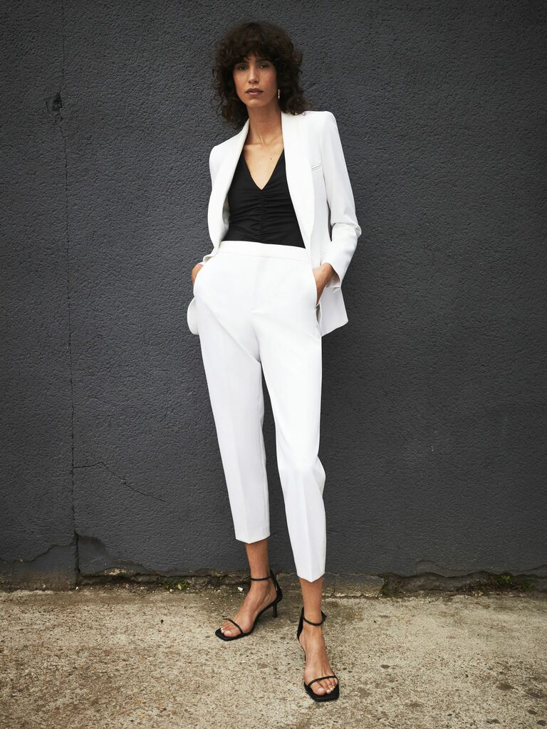 relaxed two piece wedding pantsuit
