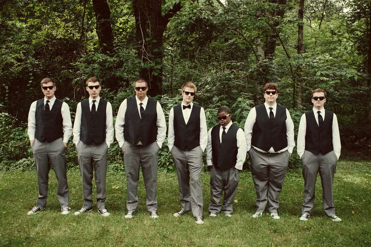 Black Vest and Gray Pant Groomsmen Attire