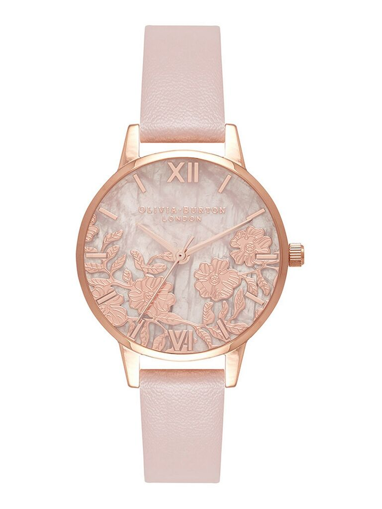 Floral gold watch first anniversary gift