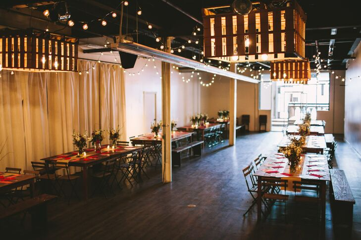 """""""We had our wedding in San Diego at a friend's awesome converted warehouse that's becoming one of the most popular venues in San Diego: Moniker,"""" Megan says. """"We kept it casual: Lots of brick and wood. Shared tables. No assigned seating. Tee-pees. Hanging lights and marquee signs. And, of course, great reclaimed furnishings (and tee pees) from a local group called Pow Wow."""""""