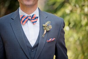 Peach and Blue Bow Tie