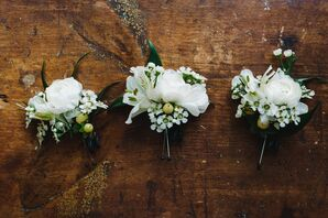 Simple White Ranunculus Boutonnieres