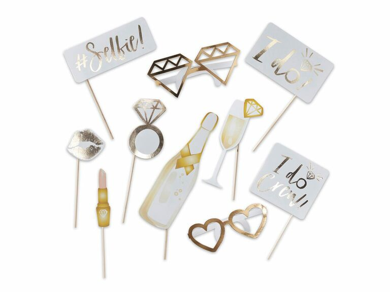 White and gold wedding photo booth props