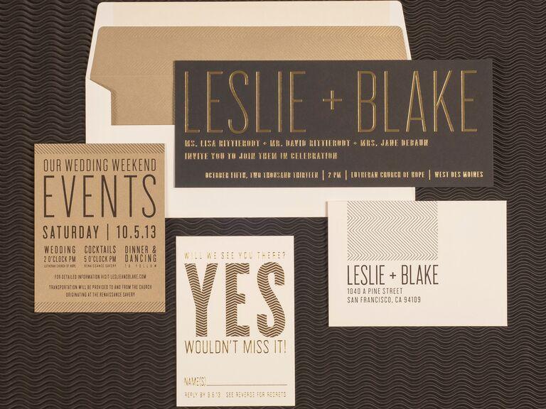 Spark gold letterpress wedding invitation