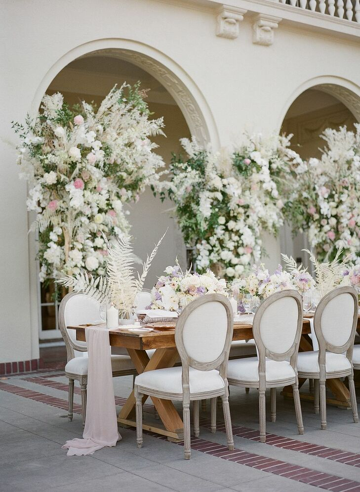 Flower-Filled Wedding Reception Table at Montalvo Arts Center in Saratoga, California