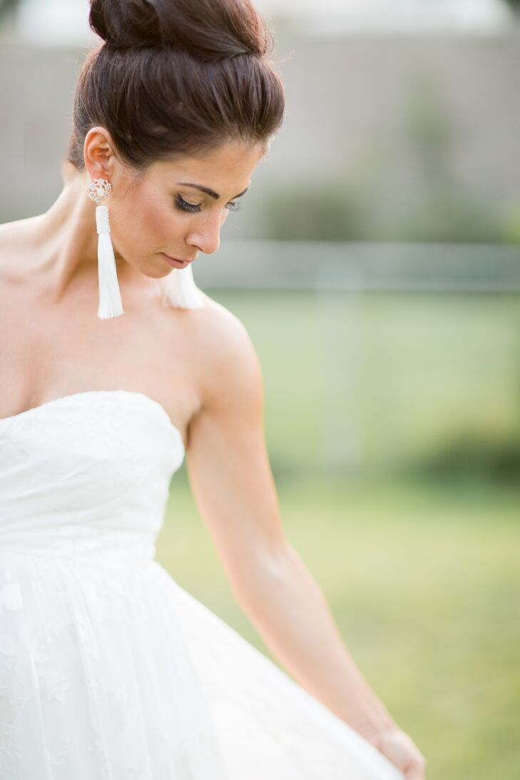Simple Bride with Tassel Earrings and Chic Updo