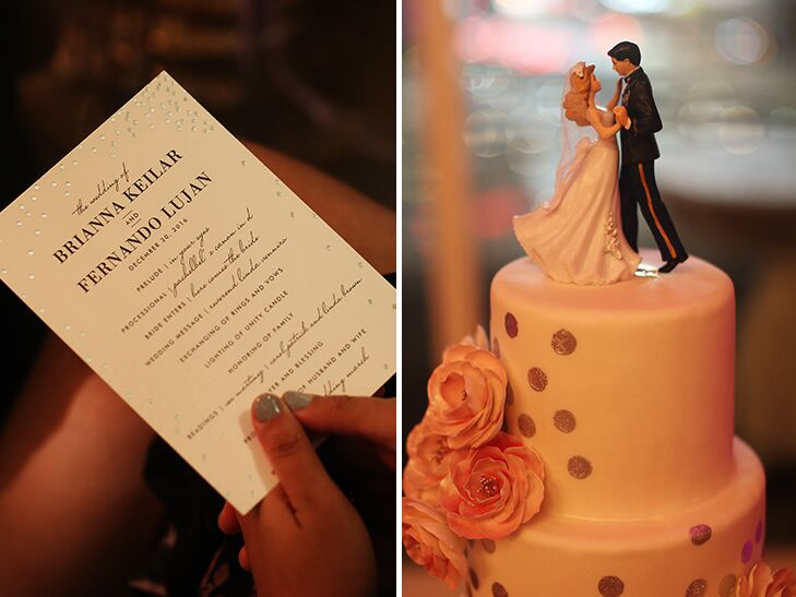 wedding invitation and cake with silver dots and pink flowers