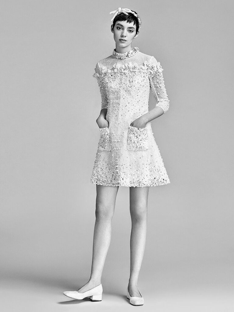 6578d07dc59 Viktor   Rolf Spring 2018 jewel-crusted long sleeve minidress with floral  appliqué collar and