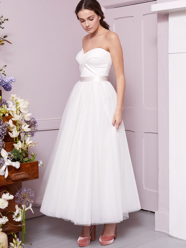 Halfpenny London 2020 Bridal Collection strapless A-line tea-length wedding dress