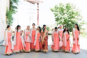 Peach-Colored Chiffon Bridesmaid Dresses