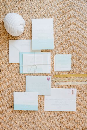 Nautical White and Pale Blue Invitations