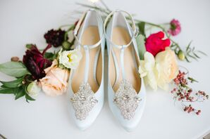 Embellished Icy Blue Ankle Strap Flats