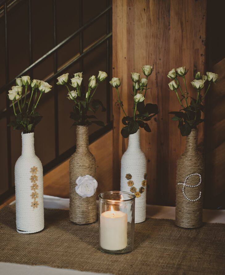 Diy Rustic Painted White And Gold Wine Bottles With Champagne Flowers