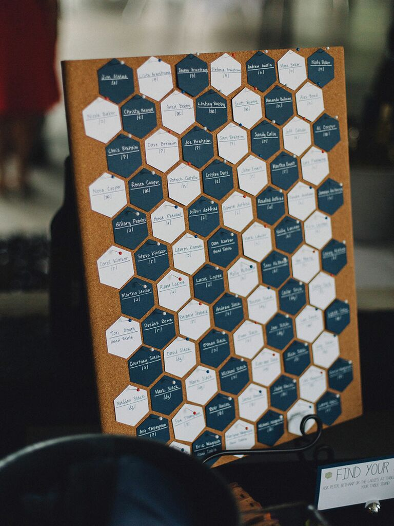 Geometric and patterned escort card ideas