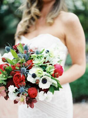 Blue Thistle, Red Rose and White Anemone Bouquet