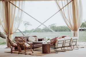 Vintage-Inspired Lounge Area with Airy Draping