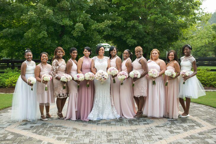 Classic Long and Short Blush Bridesmaid Dresses