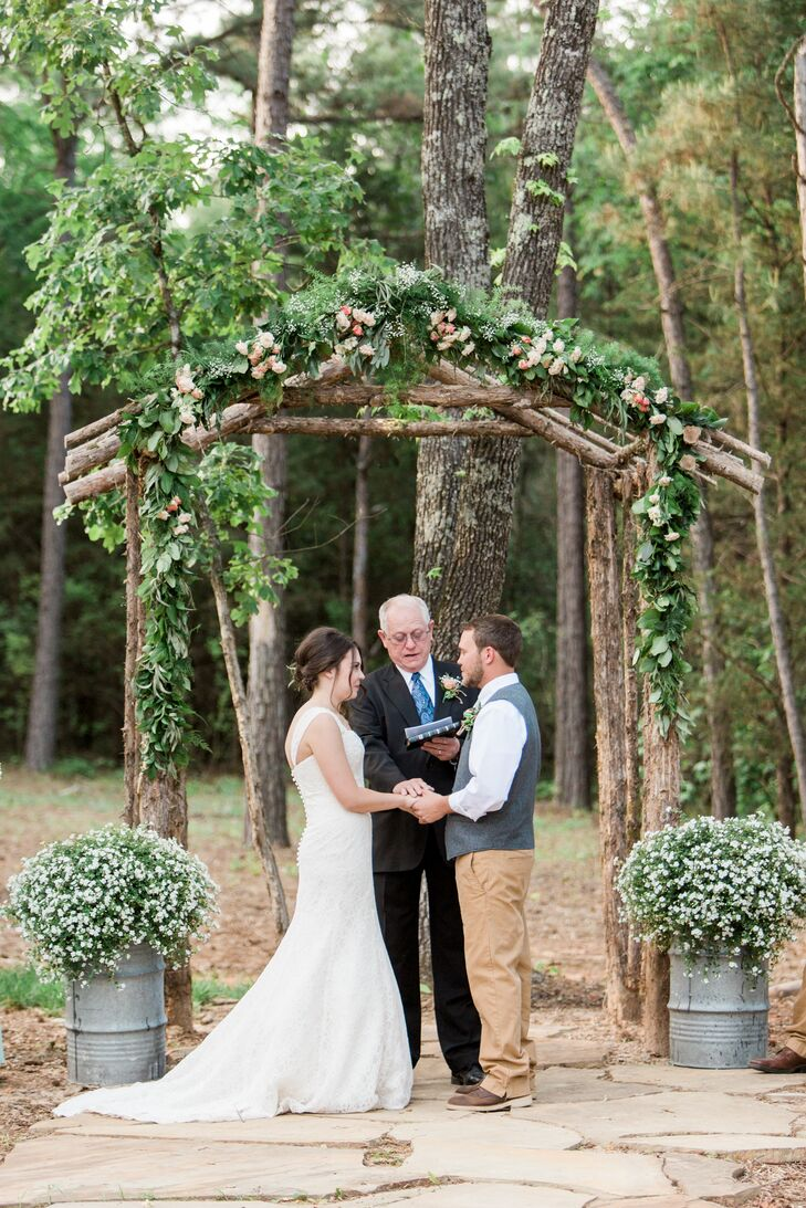 Karley and Christopher were married by the bride's grandfather in a family-oriented and heartfelt outdoor ceremony at the Barn at Sleepy Hollow in Clarksville, Arkansas.