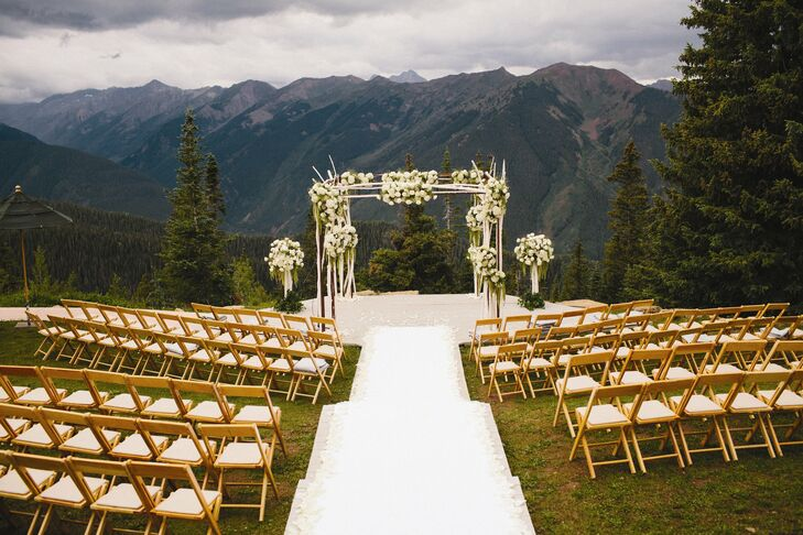 The outdoor ceremony was held at the top of Aspen Mountain.