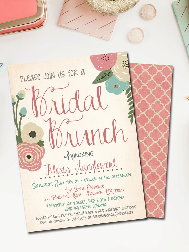 cute diy bridal shower brunch invitation printable