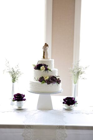 White Buttercream Cake with Fresh Purple Flowers