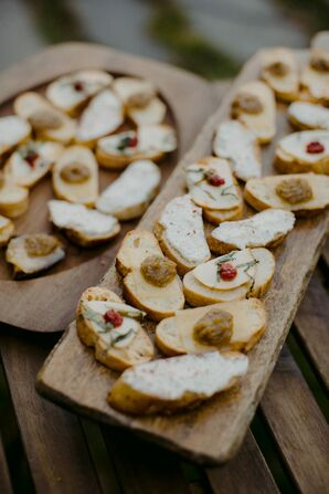 Passed Appetizers on Wood Serving Platters