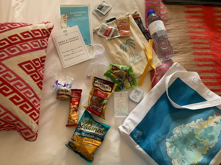 Casual Welcome Bags with Snacks and Paper Goods