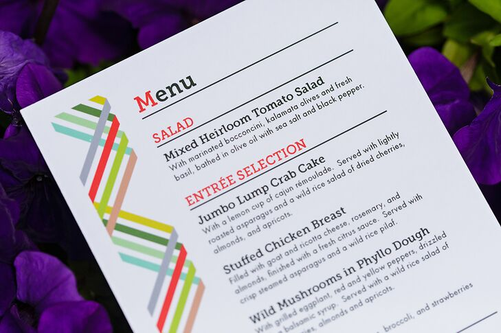Close-up of Reception Dinner Menu