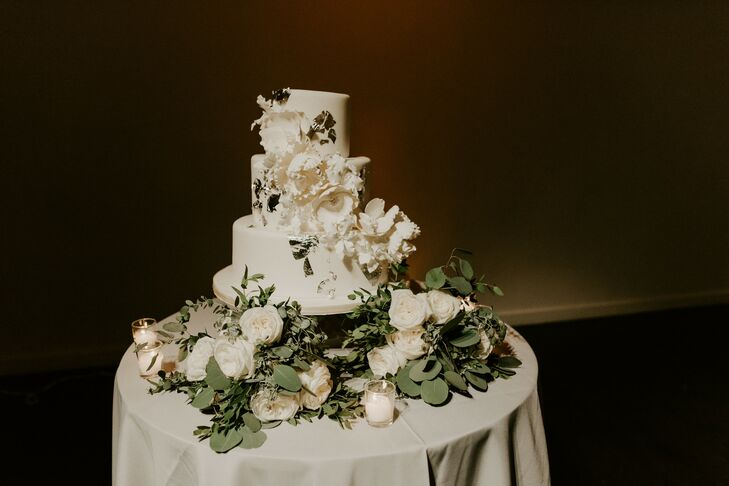 Three-Tier White Wedding Cake with Flowers