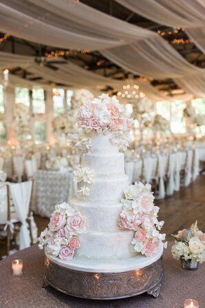 Romantic Fondant Rose Cake with Decorative Piping