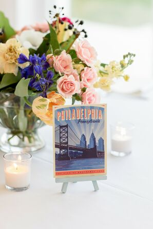 City-Inspired Table Names at Military Wedding at Belle Mer in Newport, Rhode Island