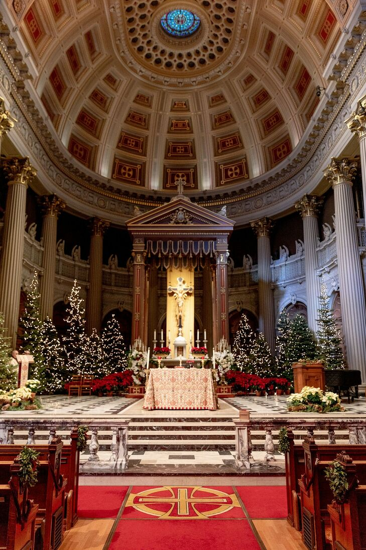Traditional Christmas Trees at St. Ignatius Church in San Francisco