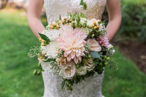 Dahlia and Rose Bouquet with Hops