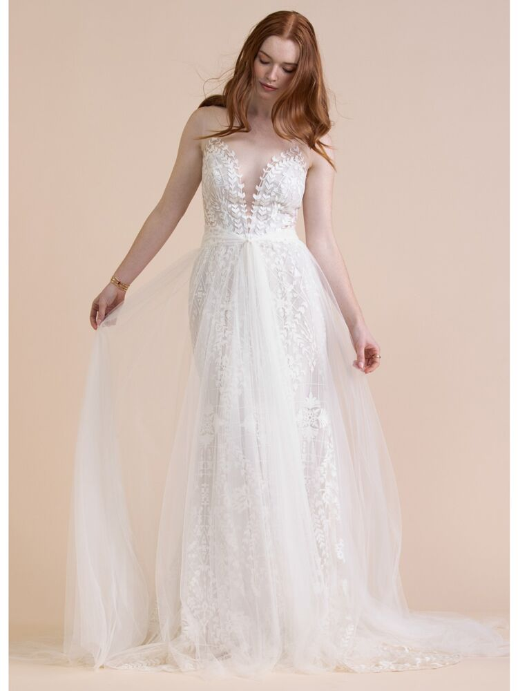 Willowby sleeveless fit-and-flare wedding dress with tulle overskirt