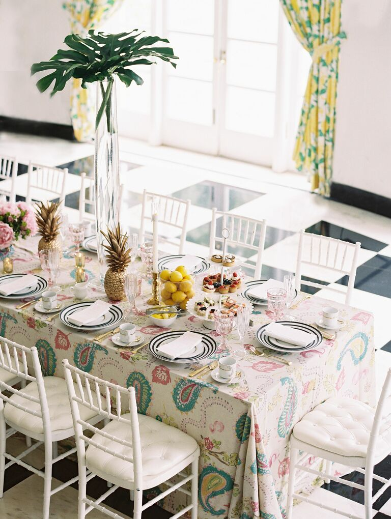 Tablescape for tropical bridal shower