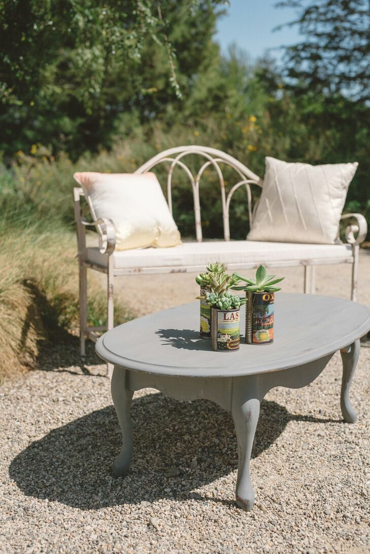 After the ceremony, guests took in the Ojai Valley scenery from vintage benches and set their cocktails on succulent-topped coffee tables.