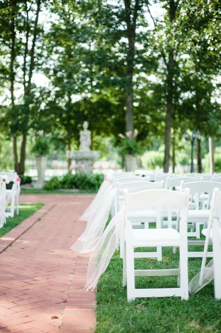 Charming Garden Ceremony with Tulle Aisle Markers