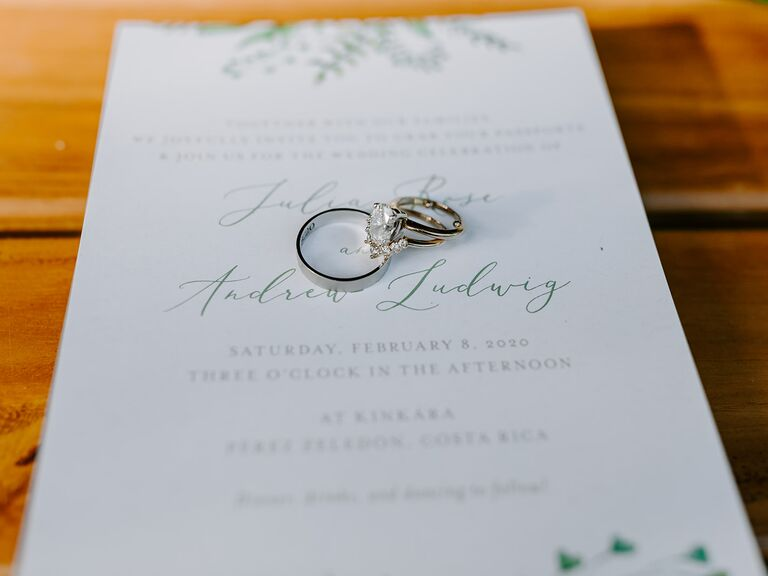 Eco-friendly wedding invitations with rings