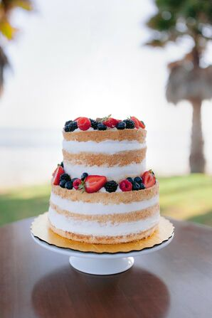 Tiered Naked Wedding Cake with Berries