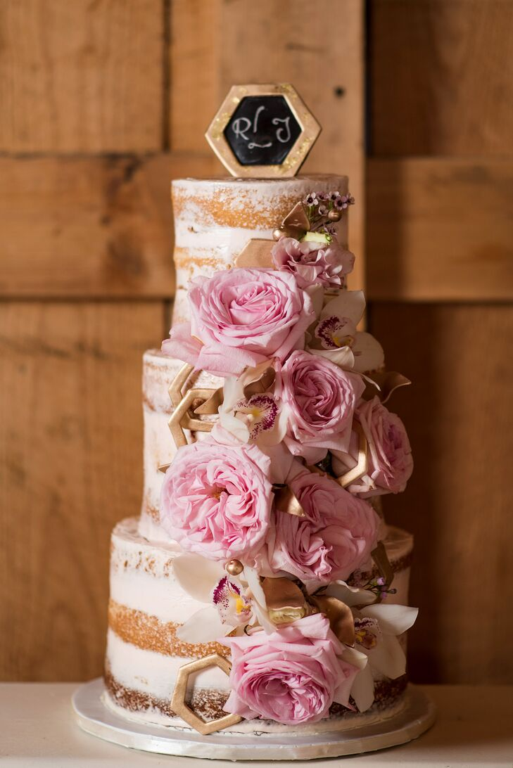 Geometric Naked Cake with Garden Roses
