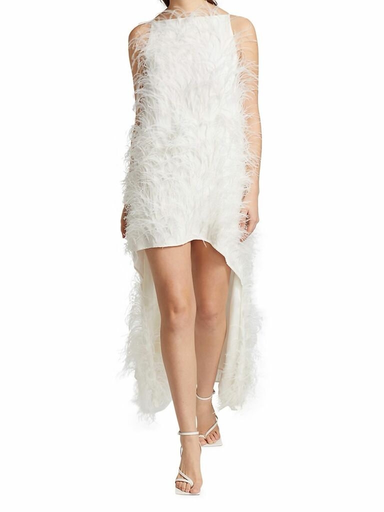 high-low dress with all over feather embellishments