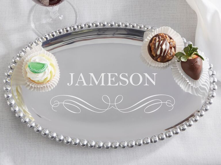 Personalized aluminum serving tray personalized with family name