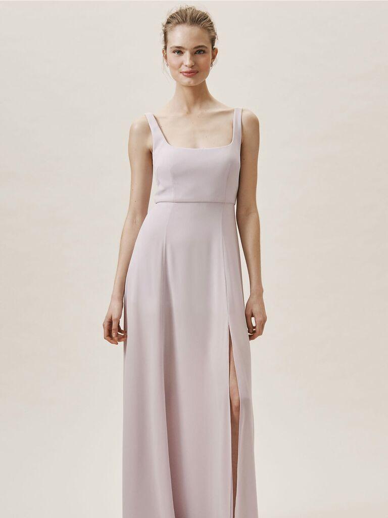 Long purple Wtoo by Watters spring bridesmaid dress