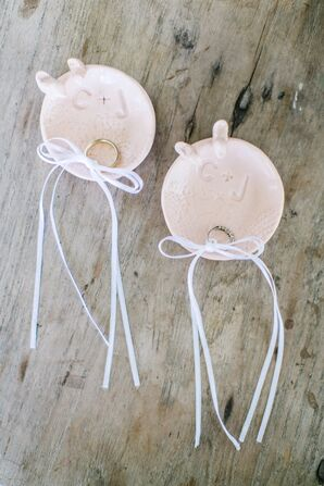 Wedding Rings in Pink Saucer