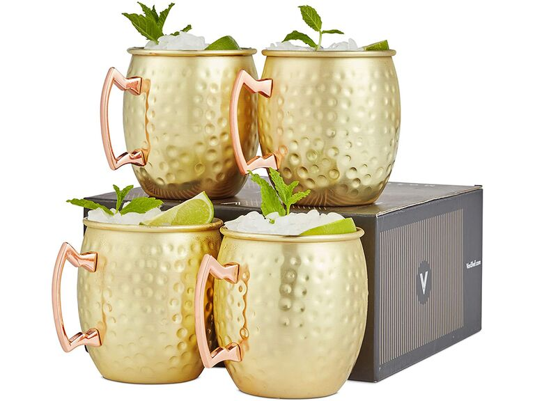 VonShef Moscow Mule mugs in Gold Hammered Effect
