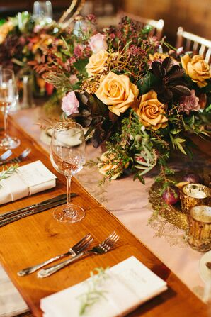 Gold Rose and Fall Foliage Centerpieces